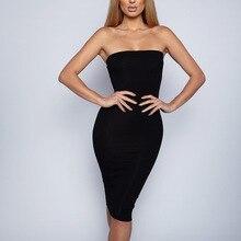 Sleeveless Strapless Women Knee-Length Dress 2019 Spring Summer Female sexy Bodycon new year party Dresses цена