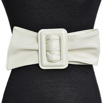 Moda mujer Pu cinturón de cuero señora cinturón para vestido moda coreana ceñido a la cintura Color sólido cinturón de lujo