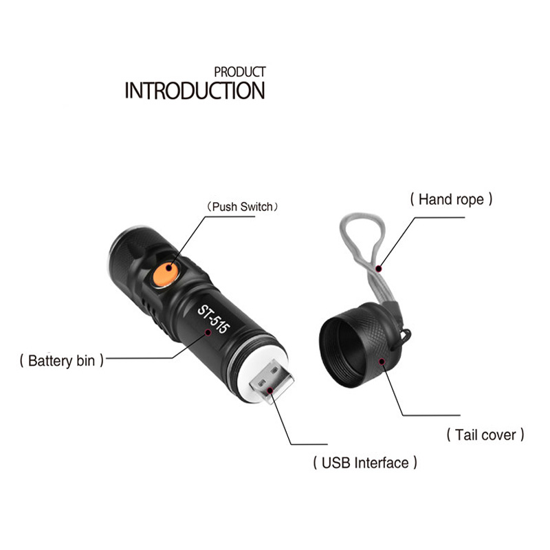 Maimu 3 Modes XML T6 3800LM Built-in 18650 USB Rechargeable Flashlight Portable Lantern Waterproof Torch Zoom Flash Light D24