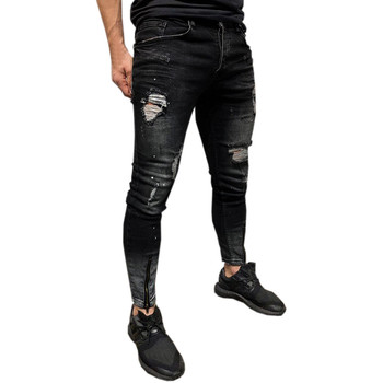 b3984e6467 Los hombres Hombre Vaqueros Skinny Stretch Denim Pantalones rotos de Freyed  Slim Fit pantalones vaqueros q90322