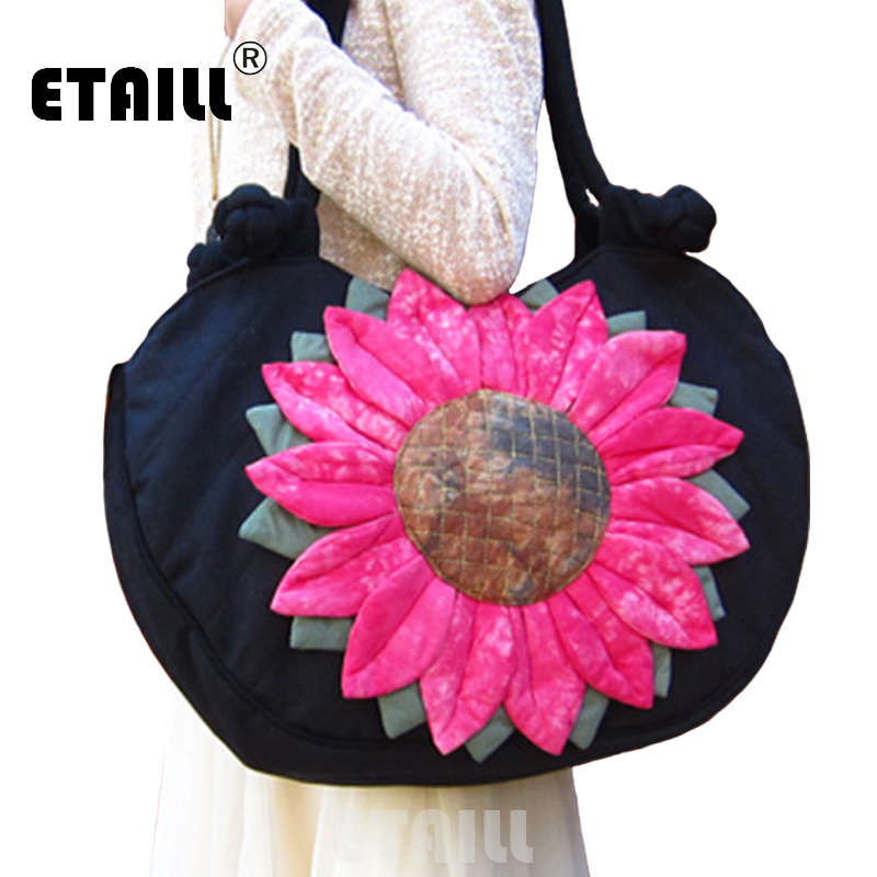 ETAILL Sunflower Large Fashion Women Shoulder Bags Handmade Flower Appliques Handbag Ladies Big Canvas Single Shoulder Beach Bag-in Shoulder Bags from Luggage & Bags    1