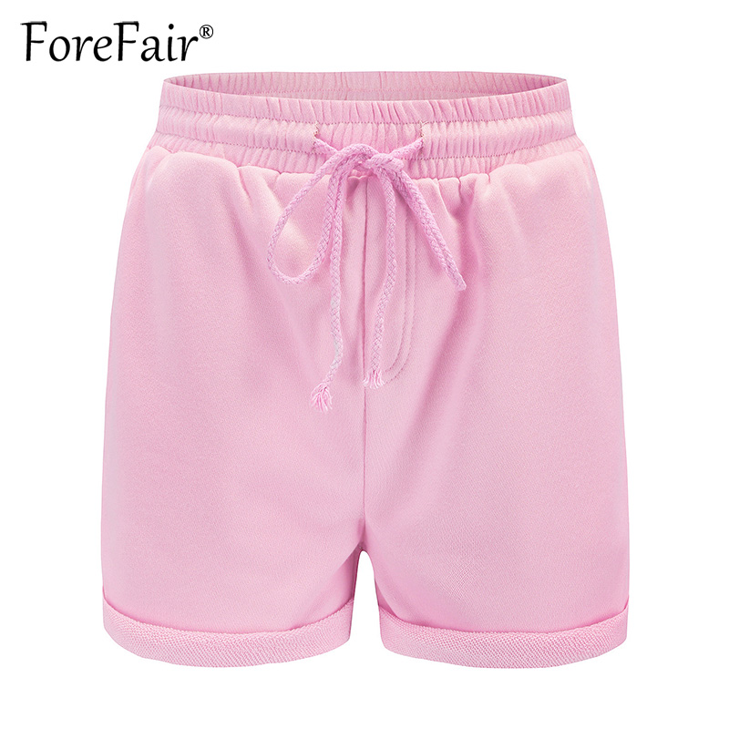 Forefair Summer Casual Curled Side Shorts Women Knitted Sweat Shorts Ladies Drawstring Elastic Waist With Pocket Short Pants