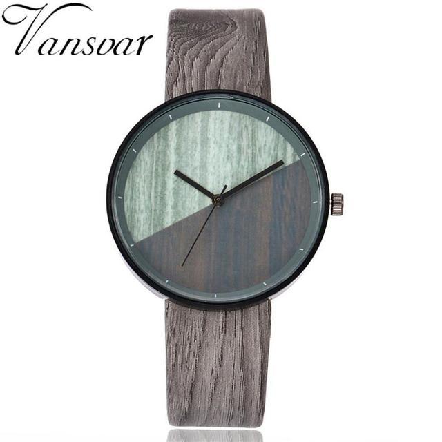 Vansvar  Watches Woman  Wooden Color  Casual   Quartz  Wristwatches  Fashion Luxury Simple  Montre Femme  Watch  18MAR28 2