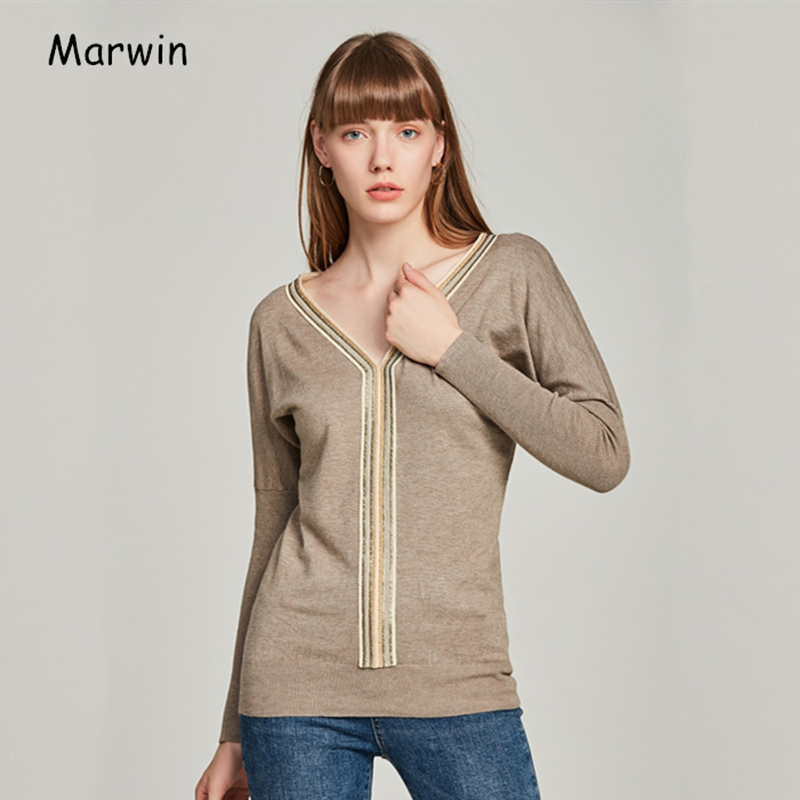 Marwin 2019 New-coming Casual V-Neck Pullovers Beading Solid Women Sweaters Fashion Winter Knitted Sweater Soft Warm Autumn