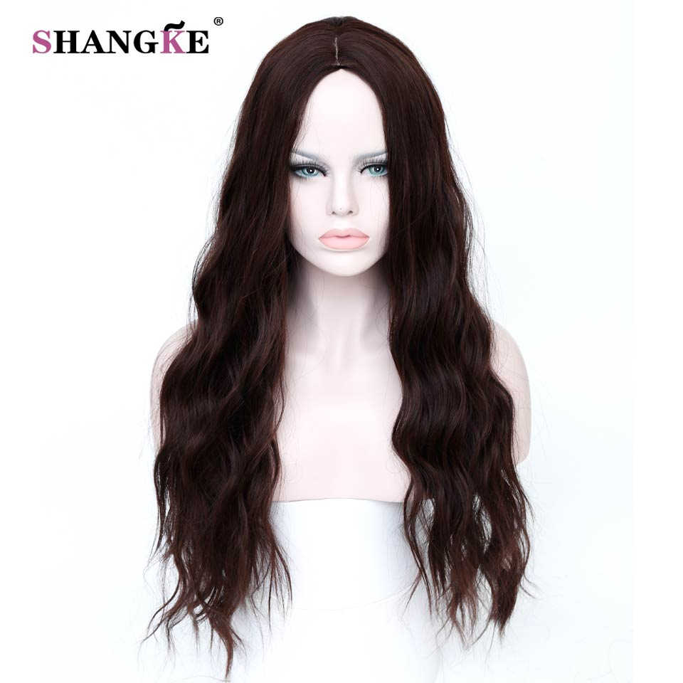 SHANGKE Long Brown Hair Wigs African American Kinky Curly Wigs For Women Heat Resistant Synthetic Fake Hair Pieces