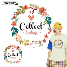 Nicediy Beautiful Garland Patches Printed Iron On Transfers For Clothes Heat Transfer Vinyl Sticker Women Lady Applique DIY