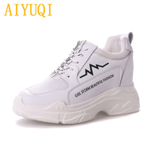 AIYUQI Women casual shoes 2019 spring new genuine leather women  Loafers shoes, Lace platform white sneakers