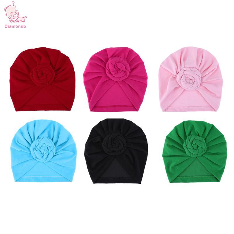 Newborn Kids Baby Hats Floral Turbans Caps Lovely Children Headwear Wrinkle Kawaii Hat Infant Girls Soft Beanie Hats Photo Props