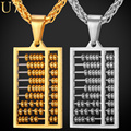 U7 2016 New Abacus Necklace Male Stainless Steel Trendy Fashion Jewelry Women Bead Chinese Style Necklaces & Pendants P762