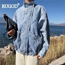 RUGOD Women soid blue jeans jackets loose vintage standing collar batwing sleeve