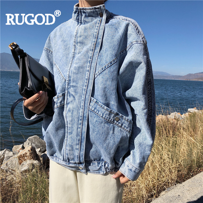 RUGOD Women Soid Blue Jeans Jackets Loose Vintage Standing Collar Batwing Sleeve Casual Denim Jacket New Fashion Mujer Femme Top