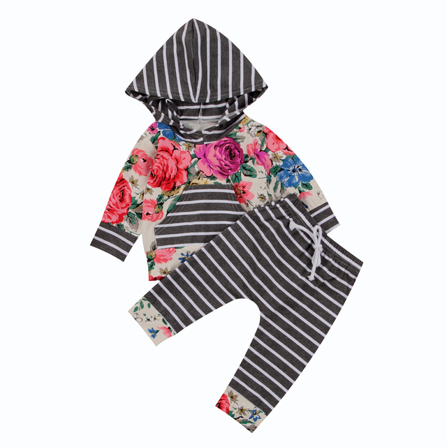 82610a2df19a 2 Pcs Floral Baby Girls Warm Hooded Clothing Set Infant Babies Girl ...