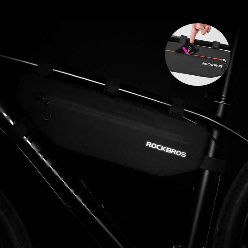 ROCKBROS Bersepeda Sepeda Tas Tabung Atas Bingkai Depan Tas Tahan Air MTB ROAD Segitiga Keranjang Beban Tahan Kotoran Sepeda Aksesoris Tas