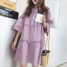 Oversized Dress Summer woman cute half Sleeve Loose Casual Sweet Dresses A-Line Plus Size Fashion big midi Dresses purple QC817(China)