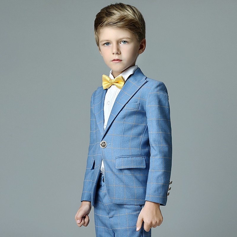 2017 autumn boys plaid wedding suit england style gentle boys formal tuxedos suit kids clothing set blazer suit for party цены онлайн