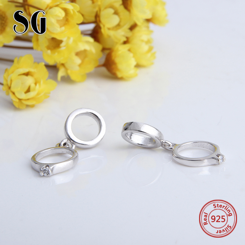 SG Ring Beads DIY 100 925 Sterling Silver Fit Authentic pandora Charms Bracelets Pendant for pandora Silver Jewelry gift 2017 in Beads from Jewelry Accessories