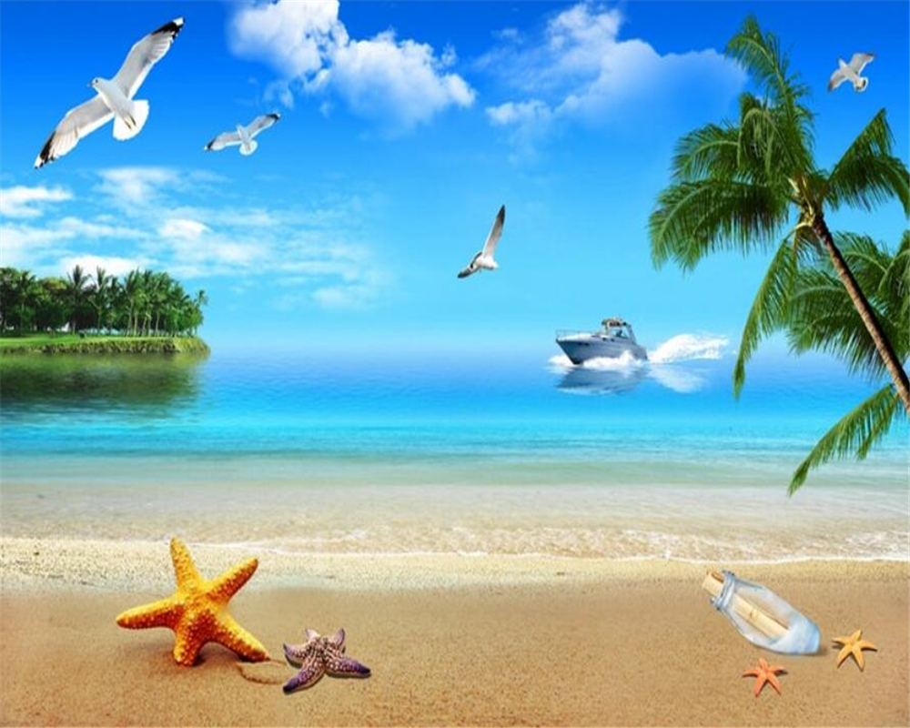 US $8 85 OFF Beibehang 3d Wallpaper Sea Seaside Scenery Beach Mediterranean Style Seagull Starfish Conch Palm Photo Wall Mural Wallpaper 3d