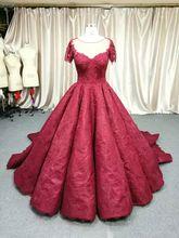 2018 réel luxe foncé rouge princesse fleur dentelle robe de soirée perles cristal vintage bateau cou rose dinde robe de bal