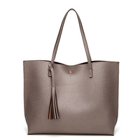 Women Leather Tote Bag Tassel Casual High Grade Embossed Simple Solid Bag With Cell Phone Pocket