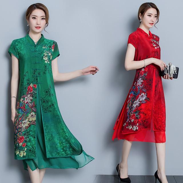 Vintage Women High Quality Chiffon Print Calf Length Dress Luxury Short Sleeve Split Patchwork Loose Large Size Summer New 2018