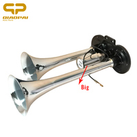 1PC Super Loud 12V /24V Siren Chrome Electric Air Horn Truck Train Car Boat Horn 2 Pipe Trumpet Claxon with Big Solenoid Valve