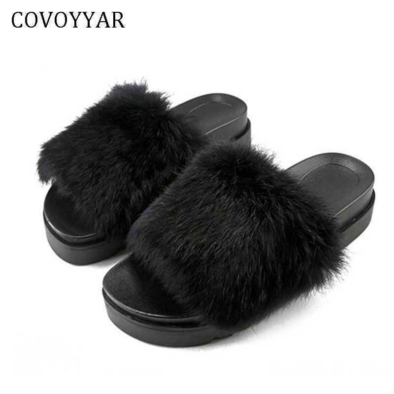 4274bfe0a COVOYYAR 2019 Fur Slides Women Fluffy Slippers Summer Winter Beach Home Flat  Platform Shoes Woman Wedge