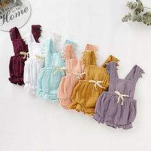0-24M Newborn Toddler Baby Girl Lace Solid Romper Ruffle Bowknot Cotton Flutter Sleeve One-Piece Jumpsuit Summer Outfits Clothes цена 2017