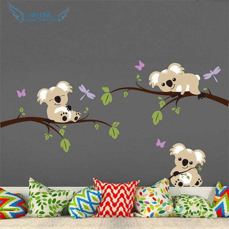 Koala Bear Lying On The Branches Wall Decal Vinyl Butterfly Sticker, Kids Wall Sticker Baby Nursery Bedroom Wall Art Mural Decor