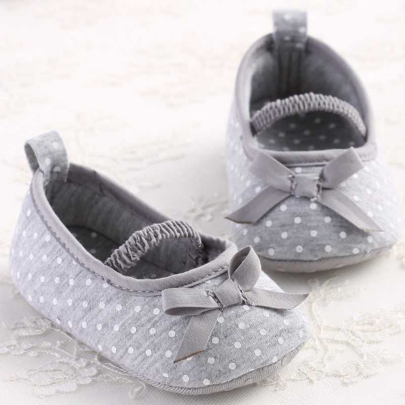 Grey Color Dots Baby Girls Shoes