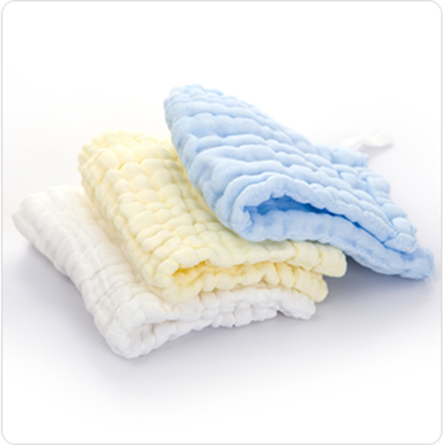 Muslin Cotton Newborn Baby Towels Luxury Wipes Breathable Solid Textile Square 3 Pcs Baby Feeding Towel Saliva Infant 70A0198