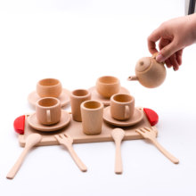 купить Baby Toy Cutting Fruit Vegetables Wooden Kitchen Toys Pretend Play Mini Solid Beech Tea Coffee Cup Set Early Education Food Toys дешево