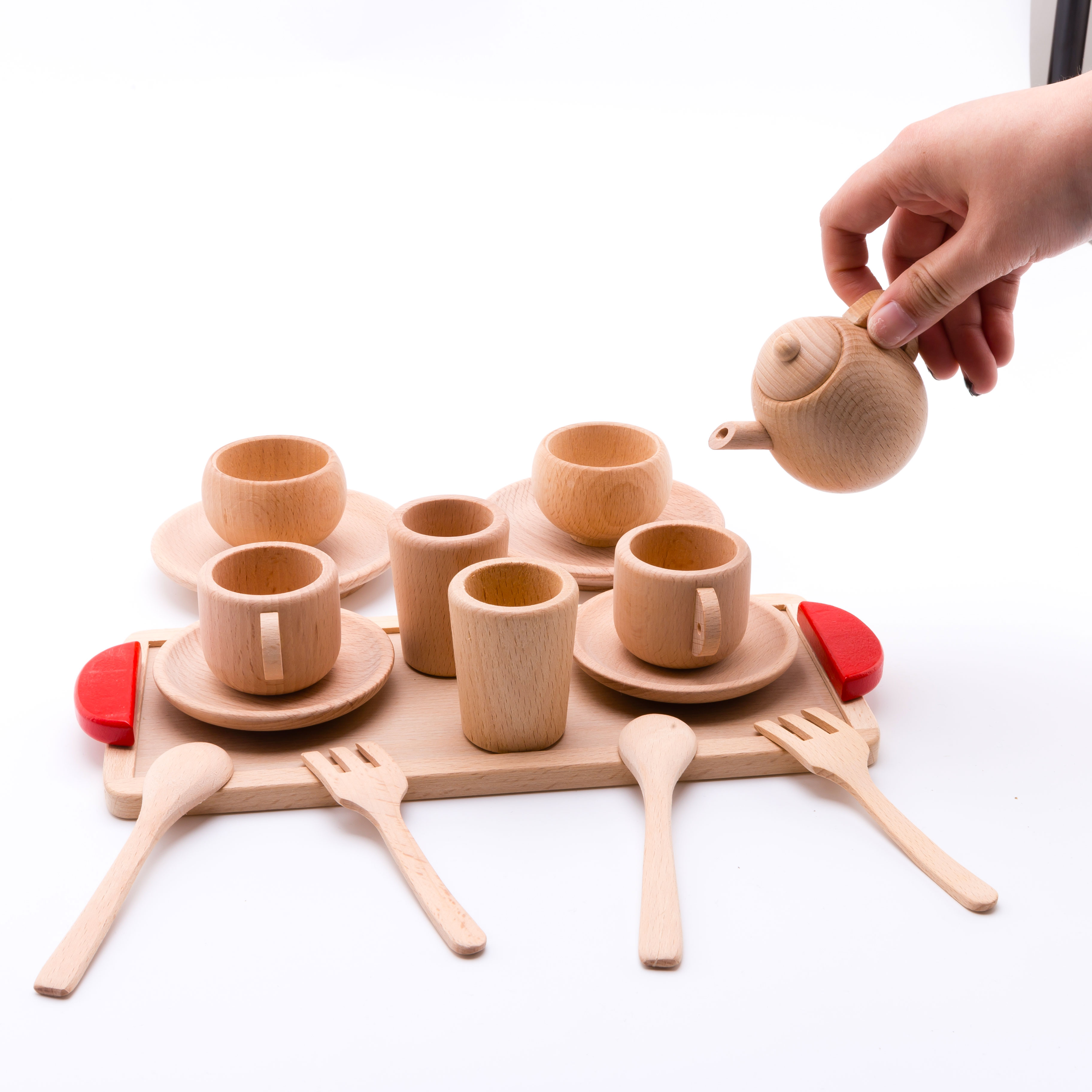 Baby Toys Cutting Fruit Vegetables Wooden Kitchen Toys Teether Pretend Play Mini Food Solid Beech Tea Cup Set Children Goods
