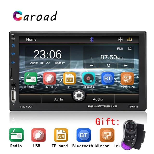 """Caroad 7 Do Bluetooth Rádio Do Carro """"Touch Screen BT Hands-free USB AUX FM Auto Volante de Controle de Áudio jogador Autoradio MP5 2 Din"""