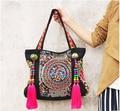 Top-atacado bordados Étnicos sacos de moda personalidade estilo Nacional contas borla ombro saco da senhora saco de compras bolsa de viagem