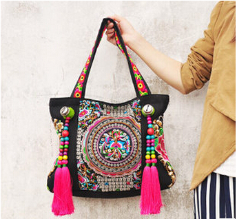 Top-wholesale Ethnic embroidery bags fashion personality National style tassel beads shoulder bag lady travel shopping handbag 2016 summer national ethnic style embroidery bohemia design tassel beads lady s handbag meessenger bohemian shoulder bag