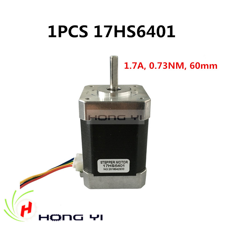Free shipping nema17 stepper motor 60mm / 2-phase hybrid stepper motor (1.7A, 0.73NM, 60mm, 4-wire) stepper motor 17HS6401 CNC free shipping stepper motor 17hs13 0404s l 33 mm nema17 with 1 8 deg 0 4 a 26 n cm and bipolar 4 wire