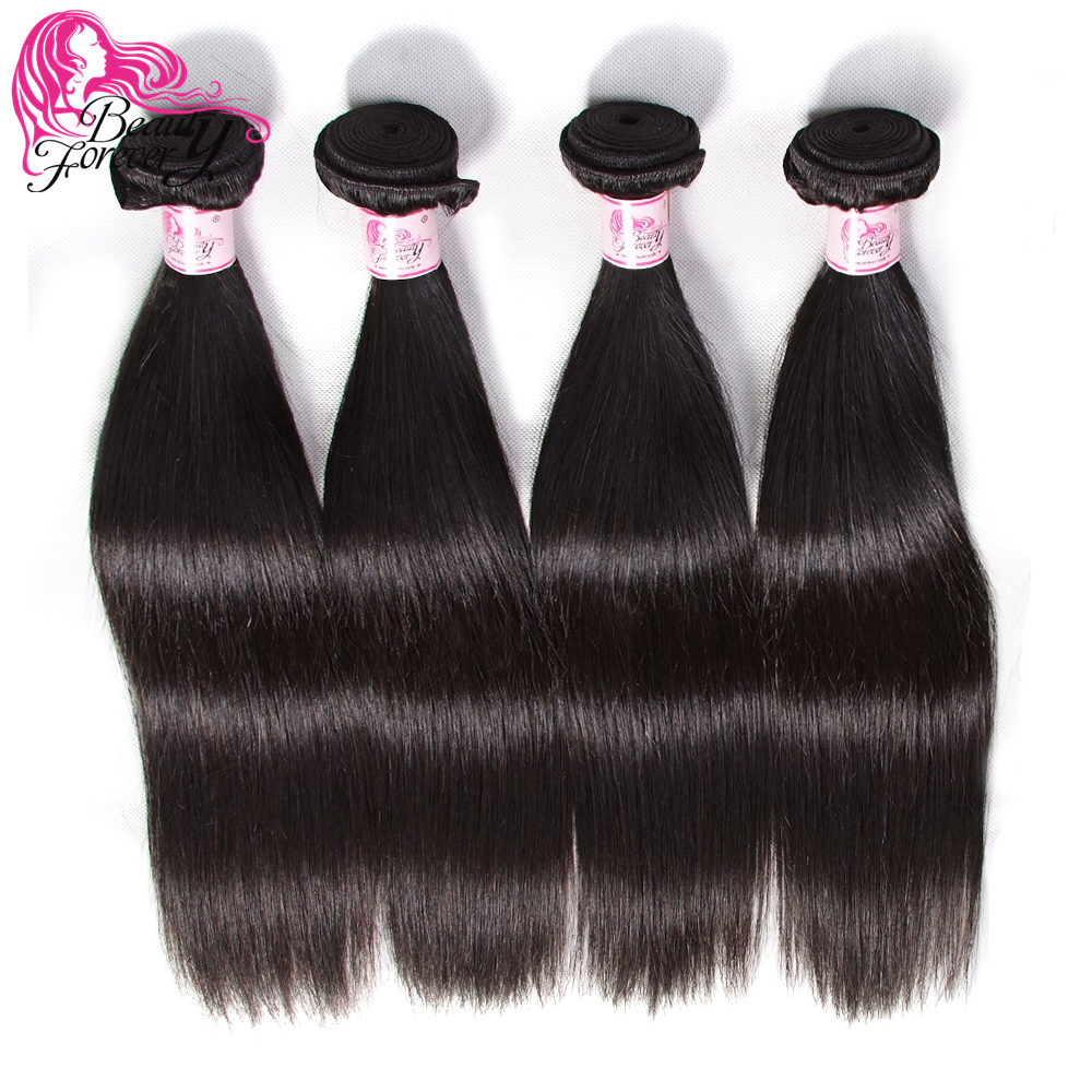 BEAUTY FOREVER 4 pcs Straight Malaysian Hair Weave Bundles Natural Color 100 Remy Human Hair Extensions