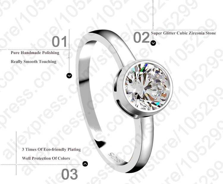 โรแมนติกหมั้นแหวน 925 เงินสเตอร์ลิงอุปกรณ์เสริมเงาคริสตัล Elegant สไตล์สำหรับภรรยา