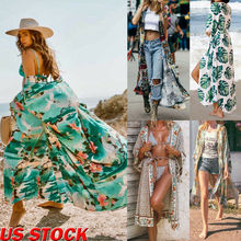 Women Cotton Floral Bikini Cover-up Summer Cardigan Swimwear Beach Long Dress