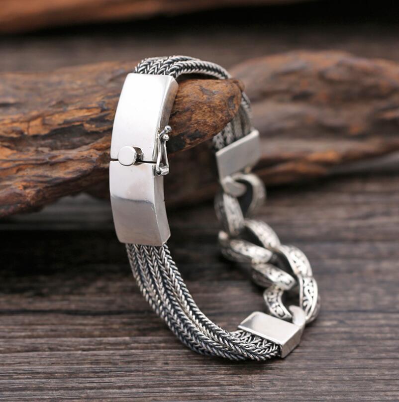 S925 Sterling Silver 13mm Wide Mens Bracelet Vintage Ethnic JewelryS925 Sterling Silver 13mm Wide Mens Bracelet Vintage Ethnic Jewelry