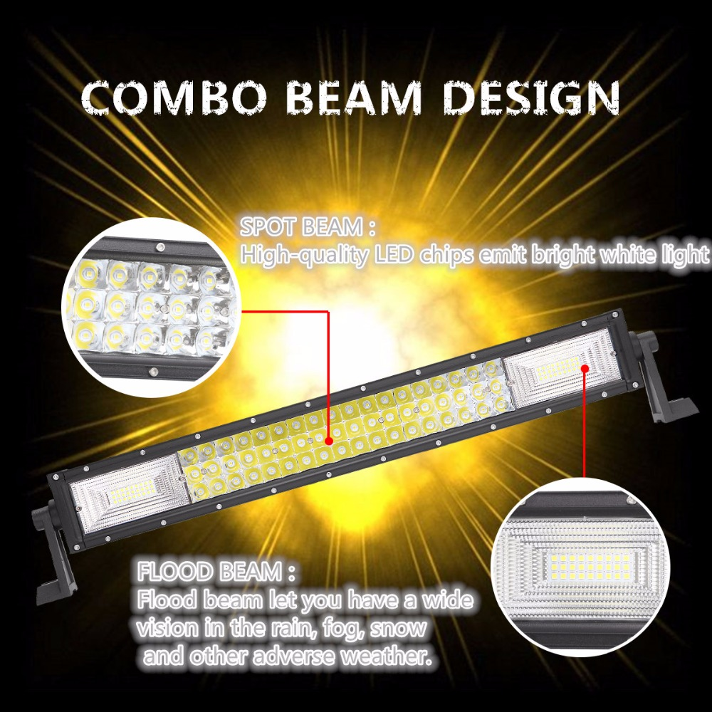 """Image 2 - 22"""" 42"""" 50"""" Inch 3 Row LED Light Bar Straight LED Work Light Barra Offroad Combo Beam 4X4 4WD ATV SUV Boat Truck Trailer Camper-in Light Bar/Work Light from Automobiles & Motorcycles"""