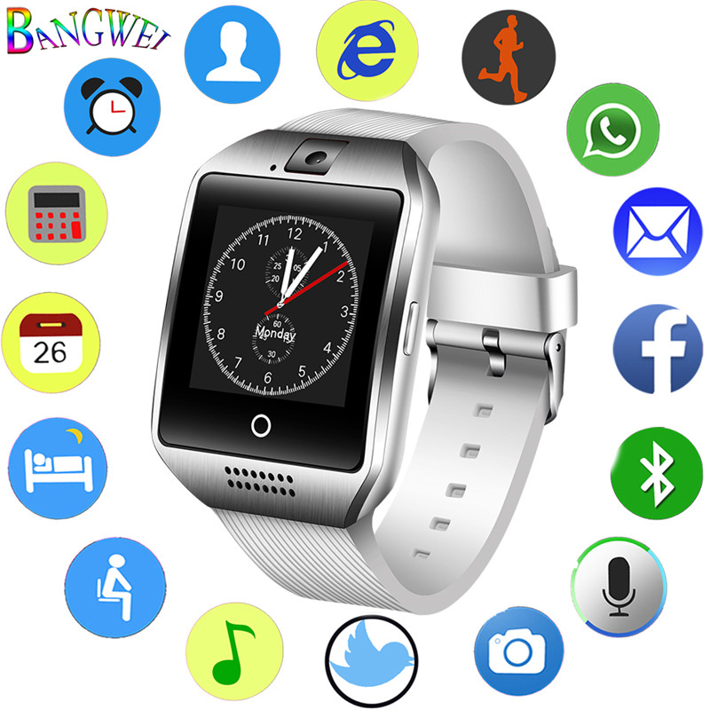 цена BANGWEI Men Women Large Dial Smart Watch men Sport Waterproof Smartwatch Support SIM Card Voice Call Bluetooth Music Player+Box