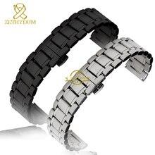 Pulsera de acero de metal sólido hebilla de mariposa reloj correa correa 20 22 24 26 28 30 mm pulsera banda de plata negro