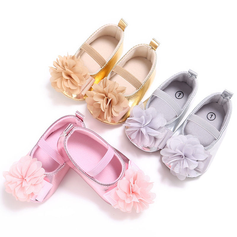 New-PU-Leather-Golden-Silver-Pink-Newborn-Baby-Kid-Prewalkers-Shoes-Princess-Girl-Mary-Jane-Big-Flower-Soft-Soled-Anti-slip-Shoe-2