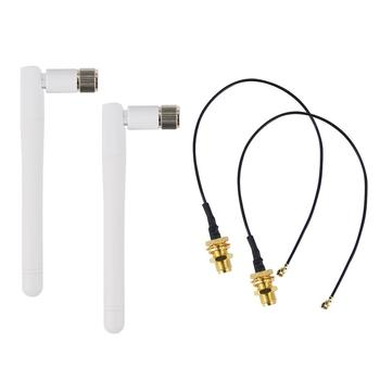 2pcs/lot 2.4GHz WIFI Antenna 2-3dbi Aerial RP SMA male Omni for Wireless Router Rubber + IPX to RP-SMA Jack Male Pigtail Cable
