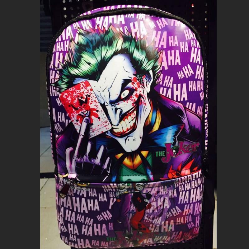 Joker Suicide Squad Backpack Comics Leather Harley Quinn School Travel Book Bag hot suicide squad messenger bags for students harley quinn school bags for girls funny joker printing rucksacks children mochila
