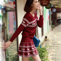 2016 Women Deer Pattern Skirt Suits Christmas Stylish New Clothing Knitted Pullover Sweater With Skinny Skirt Fashion Suits