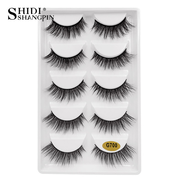 SHIDISHANGPIN New 5 Pairs 3D Mink Lashes 1 Box Mink Eyelashes Natural Volume False Eyelashes Full Strip Makeup Eyelash Extension