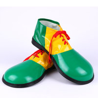 Halloween Party Performing Supplies Funny Clown Costumes Large Size Adult PU Leather Splicing Shoes Red Yellow