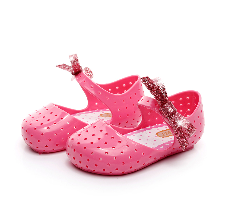 Mini Melissa Girls Sandals Summer Bowknot Girl Jelly Sandals Breathable Children Beach Sandals 3 Color Girl Shoes 14-16.5cm